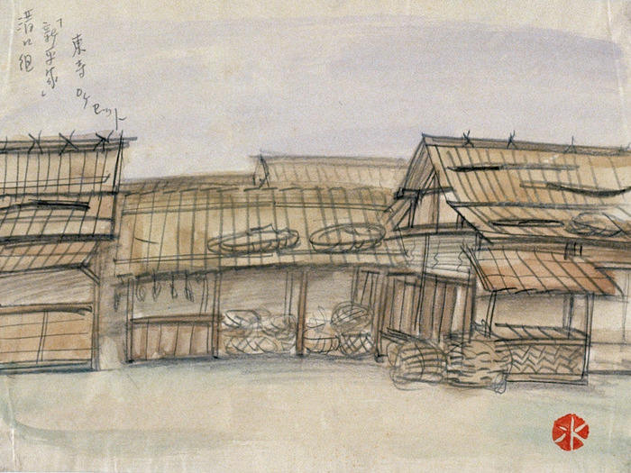 Le Héros sacrilège de Kenji Mizogushi Dessin de décor de Hiroshi Mizutani