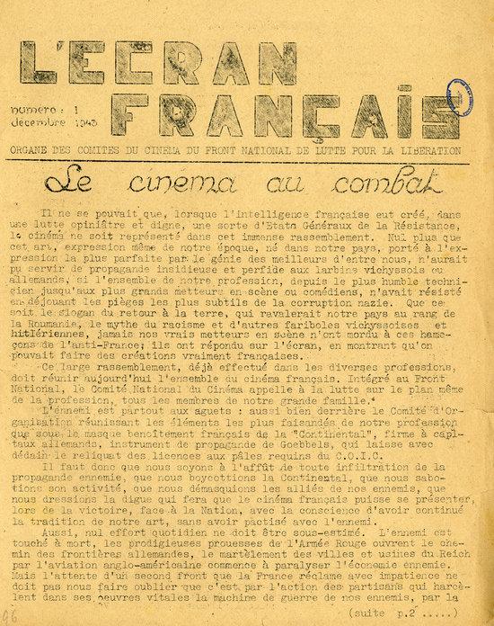 L'Ecran français n°1 de décembre 1943