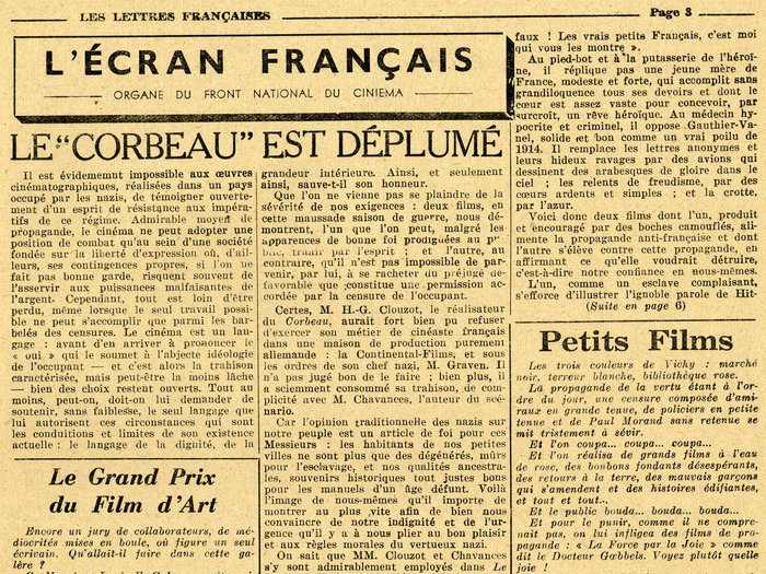 L'Ecran français n°14 dans Les Lettres françaises de mars 1944