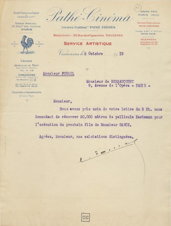Lettre à E. de Bersaucourt, 6 octobre 1919, fonds Abel Gance, coll. la Cinémathèque française
