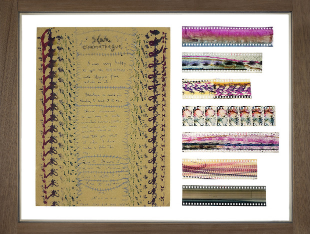 Lettre à Henri Langlois du 29 juin 1948, à laquelle sont joints des morceaux de pellicule peinte © Norman McLaren, coll. Cinémathèque française