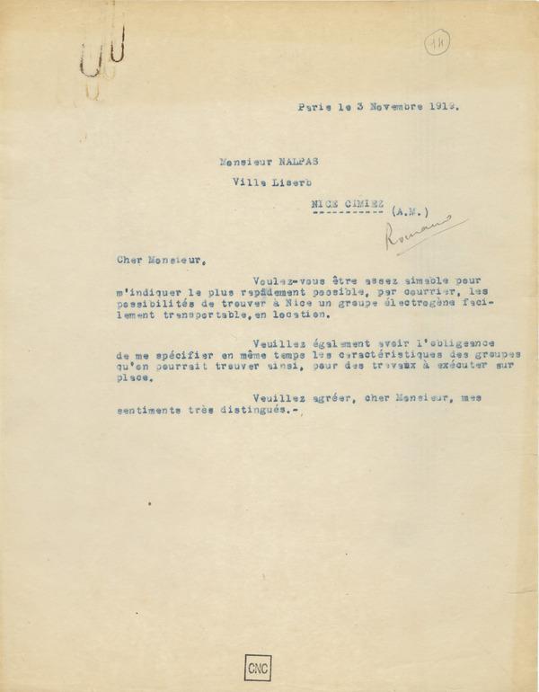Lettre à Louis Nalpas, 3 novembre 1919, fonds Abel Gance, coll. la Cinémathèque française