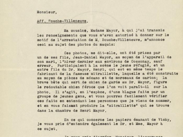 Lettre de défense de l'avocat de Christian Bouche-Villeneuve