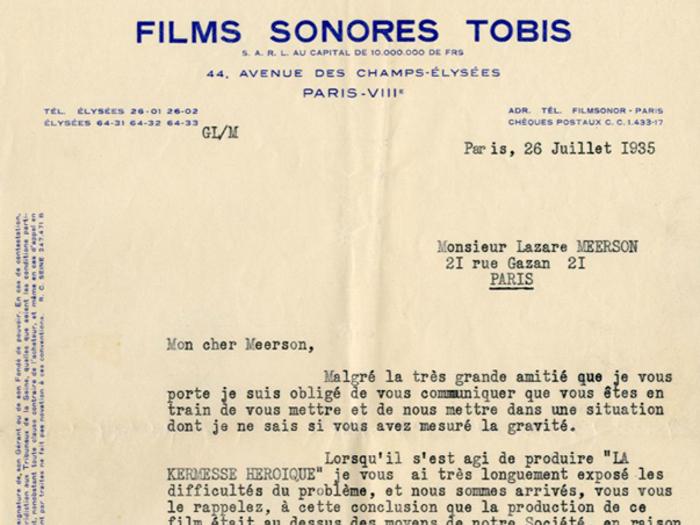 Lettre de Georges Lourau à Lazare Meerson, fonds Meerson