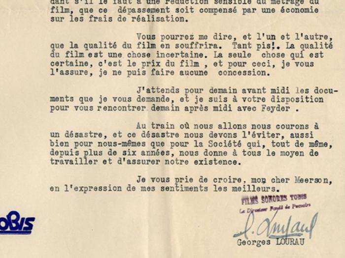 Lettre de Georges Lourau à Lazare Meerson, page 3, fonds Meerson