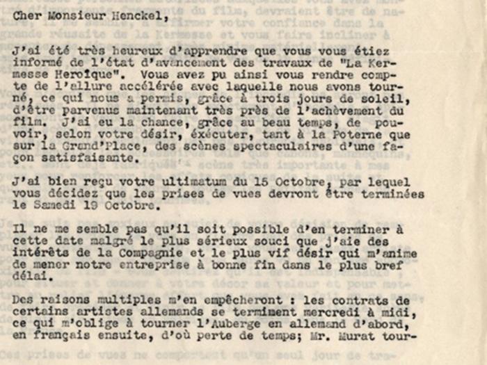 Lettre de Jacques Feyder au Dr Henckel, 16 octobre 1935, page 1
