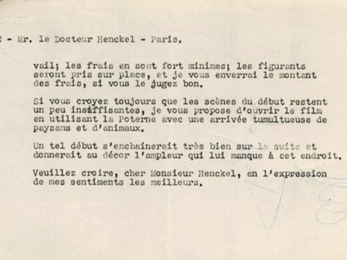 Lettre de Jacques Feyder au Dr Henckel, 16 octobre 1935, page 3