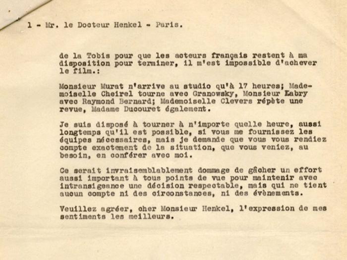 Lettre de Jacques Feyder au Dr Henckel, 17 octobre 1935, page 2