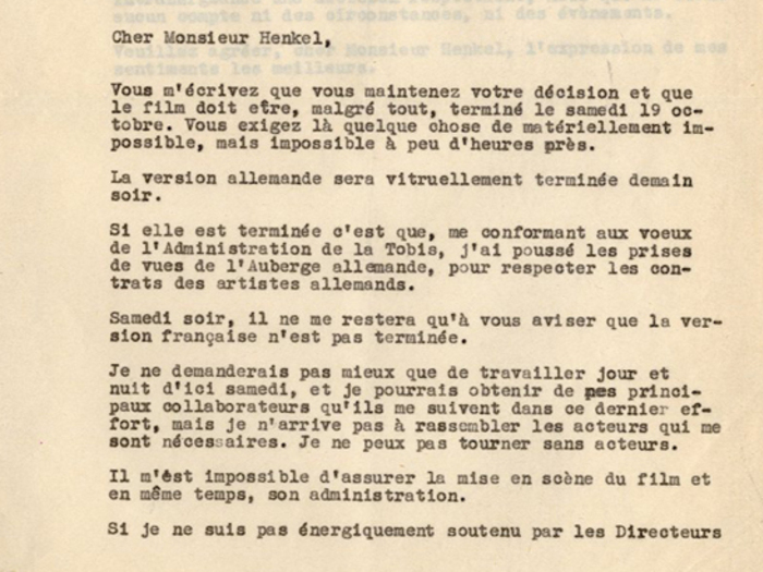 Lettre de Jacques Feyder au Dr Henckel, 17 octobre 1935