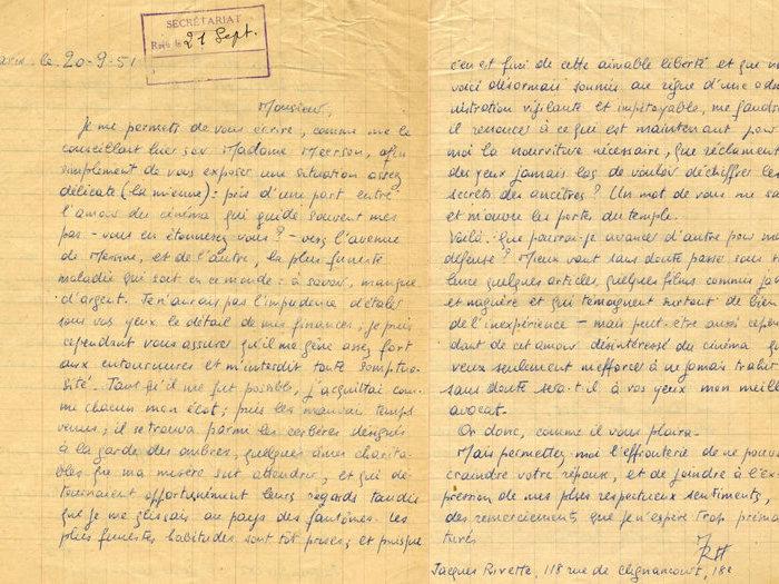 Lettre de Jacques Rivette à Henri Langlois