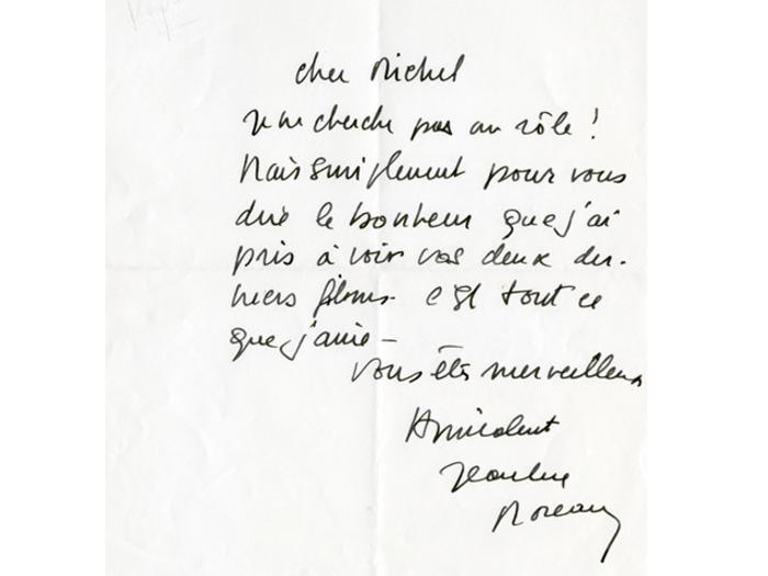 Lettre de Jeanne Moreau à Michel Deville, août 1986.
