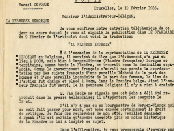 Lettre de Marcel Defosse à Georges Lourau, fonds Charles Spaak