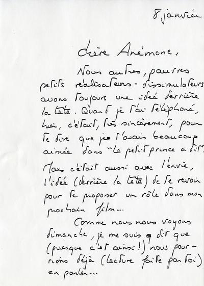 Lettre de Michel Deville à Anémone