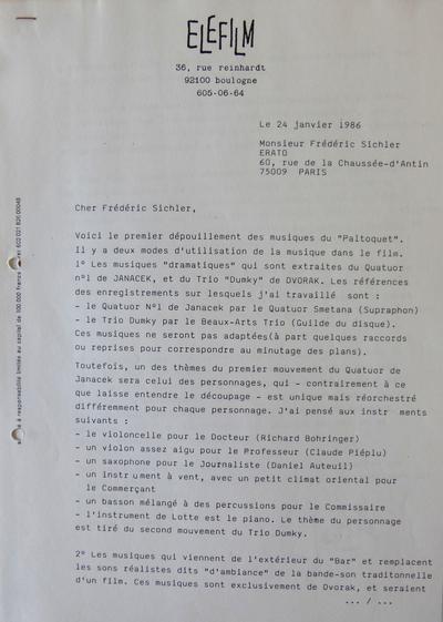 Lettre de Michel Deville à Erato pour l'utilisation du Quatuor n°1 de Janacek et du Trio Dumky de Dvorak dans le Paltoquet