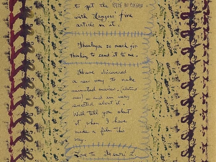 Lettre de Norman McLaren à Henri Langlois du 29 juin 1948 © Norman McLaren. Coll. Cinémathèque française
