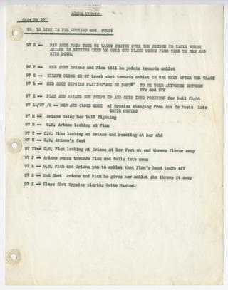 Liste numérotée des plans tournés (Ariane Wilder)
