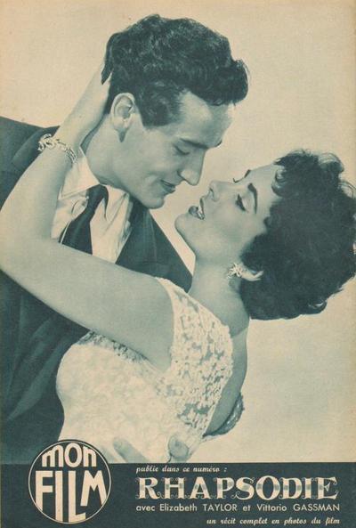 Liz Taylor et Vittorio Gassman, Rhapsodie (Mon Film, n°443, 16 février 1955)