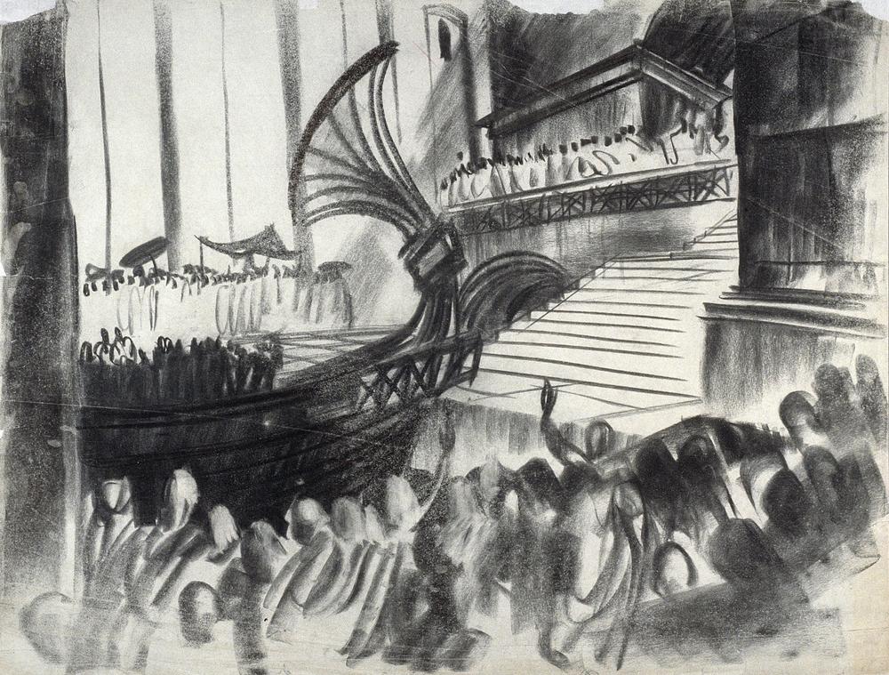 Maquette de décor au fusain pour I, Claudius par Vincent Korda