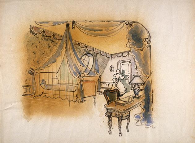 Maquette de décor de Jean d'Eaubonne pour la chambre d'Olivia