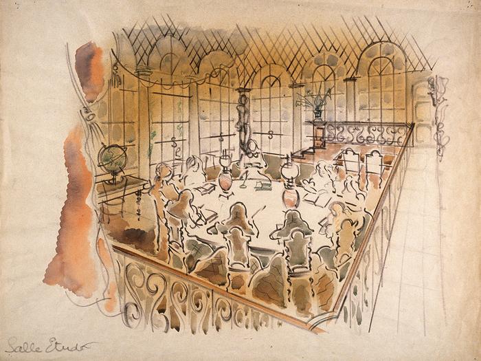 La salle d'étude des grandes.Maquette de décor de Jean d'Eaubonne © Jean d'Eaubonne