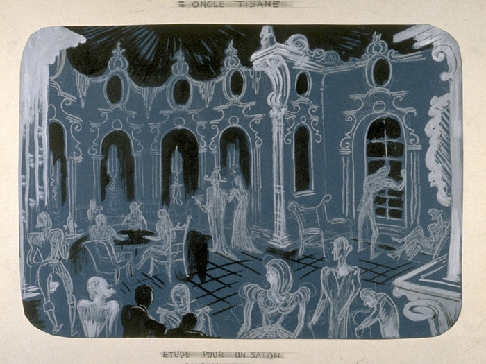 Maquette de décor de Jean Douarinou - Etude pour un salon dans l'au-delà