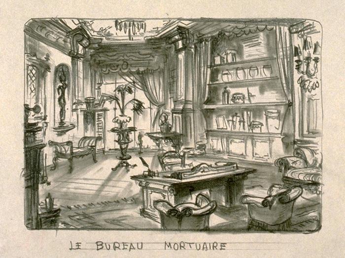 Maquette de décor de Jean Douarinou - Le Bureau mortuaire