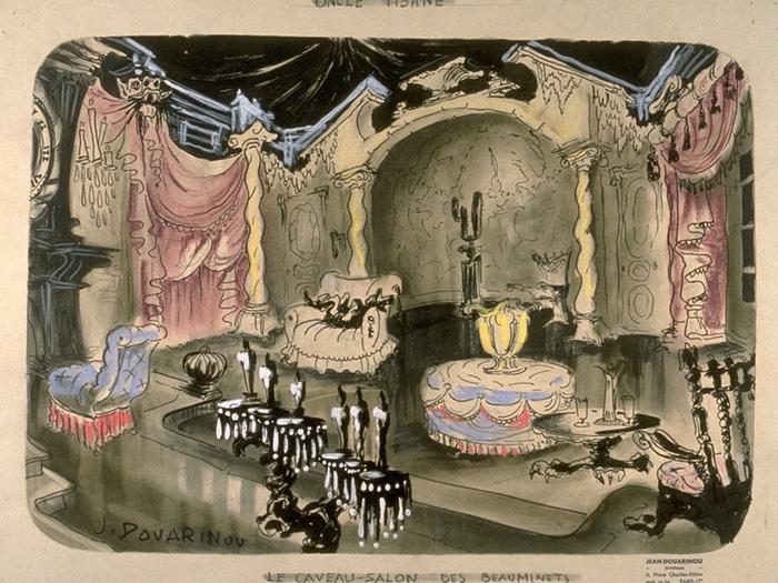 Maquette de décor de Jean Douarinou - Le Caveau/Salon