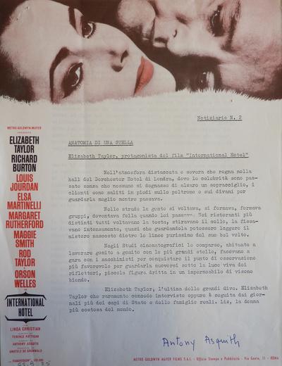 Matériel publicitaire italien pour Hôtel international d'Antony Asquith