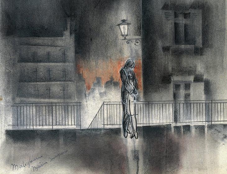 """Dessin pour le projet de film """"Modigliani"""" interrompu par la mort de Max Ophuls en 1956"""