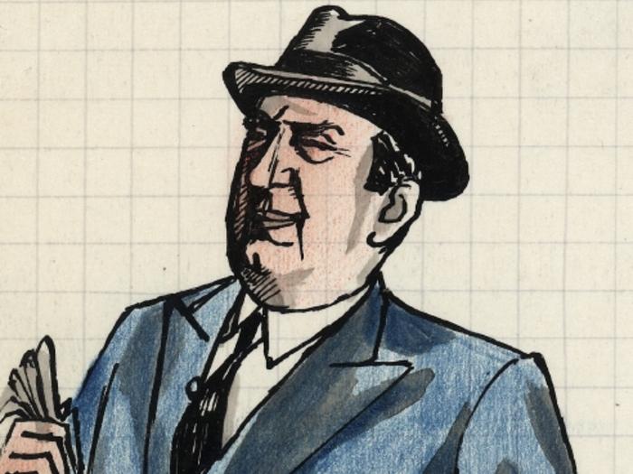 Monsieur Arpel, dessin de Pierre Étaix pour la préparation du film Mon Oncle de Jacques Tati