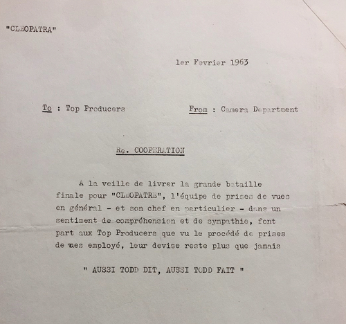 Note de l'équipe de prise de vue à la direction de la production, 1er février 1963 (Fonds Lucie Lichtig)