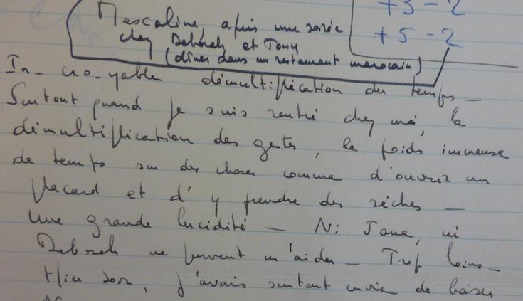 Note de Louis Malle sur les effets de la Mescaline, extrait (MALLE376-B94)