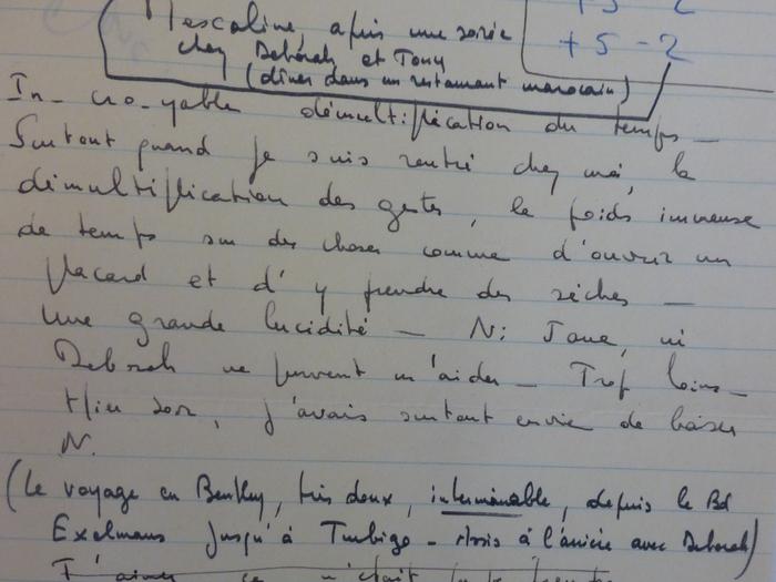 Note de Louis Malle sur les effets de la Mescaline (MALLE376-B94)