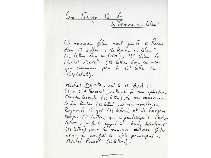 Note de Michel Deville pour la sortie de La femme en bleu. «Les Treize 13 de La Femme en bleu», fantaisie numérologique de Michel Deville qui brode sur la conjonction autour du nombre 13