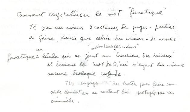 Note de travail manuscrite (en français) de Youssef Chahine pour la préparation du film Le Destin [CHAHINE 49 B19]