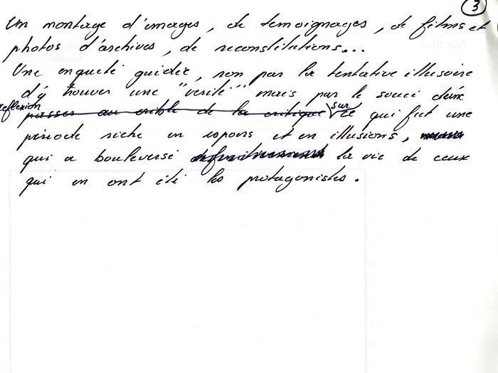 """Note sur la trame de """"Mourir à 30 ans"""" page 3 (Archives GOUPIL 73 B17 – """"Mourir à trente ans"""" : """"Original Reca"""")"""