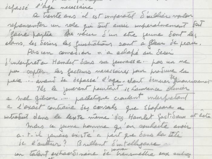 Notes à caractère autobiographique (Prologue) - Fonds Youssef Chahine