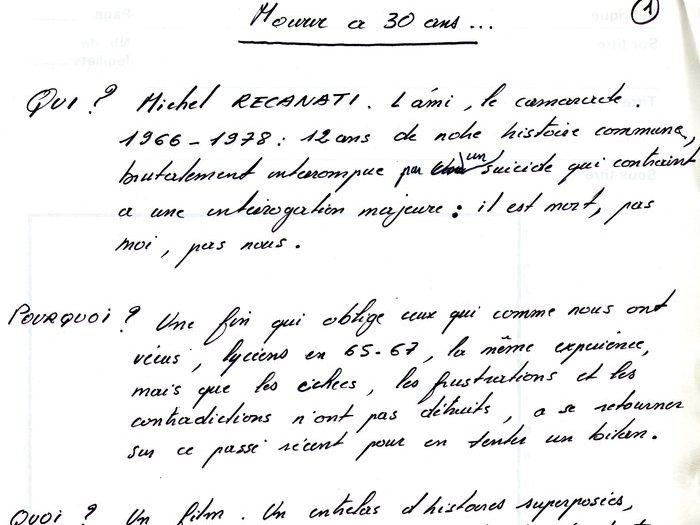 """Note sur la trame de """"Mourir à 30 ans"""" (Archives GOUPIL 73 B17 – """"Mourir à trente ans"""" : """"Original Reca"""")"""