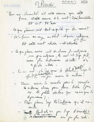 Notes sur une conversation avec Michel Piccoli au sujet de La Femme en bleu