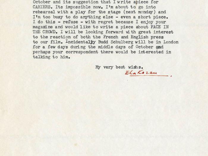 Nouvelle réponse de Elia Kazan à Charles Bitsch - sans date