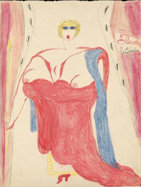 Ô Bacchus Ô Cérès, c. 1941, mine de graphite et pastel sur papier, 29,7 x 22,5 cm © Aloïse