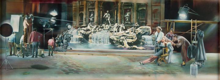 """Oeuvre réalisée par Guy Peellaert pour le générique de l'émission """"Cinéma, cinémas"""" sur Antenne 2 , 1980 © Guy Peellaert"""