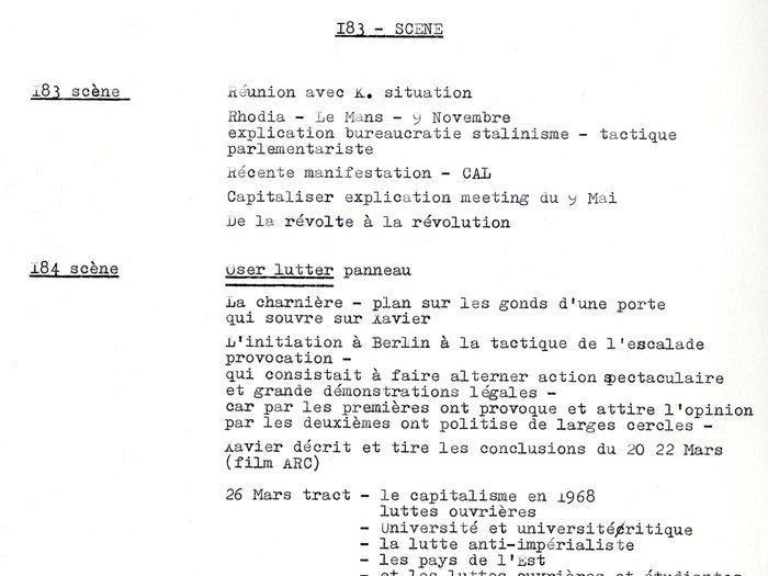 """Plan de scène """"De la révolte à la révolution"""" Archives GOUPIL 52 B10 – Projet """"Oui Mai"""" : """"notes"""""""