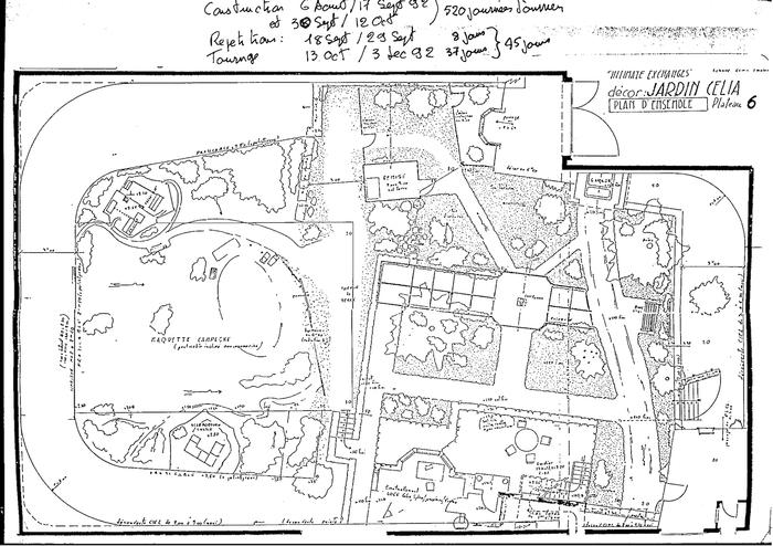 Plan d'ensemble du décor du jardin de Célia - Jacques Saulnier