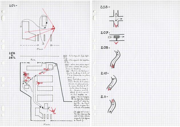 Plans au sol, indications de déplacements et mouvements de caméra pour La Maladie de Sachs. [DEVILLE672 B205]