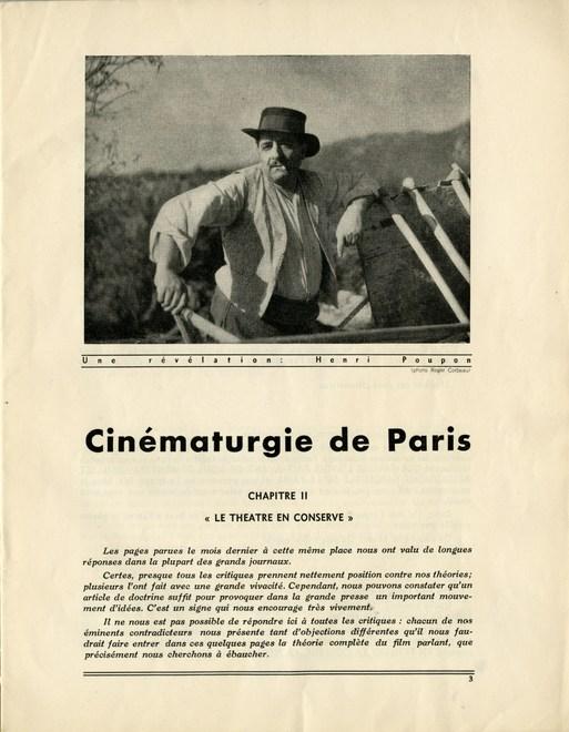 Première page de l'article « Cinématurgie de Paris » (2ème partie) de Marcel Pagnol, Cahiers du film n°2, 15 janvier 1934.