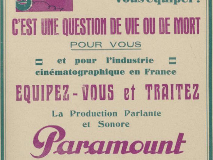 Publicité pour la production sonore et parlante Paramount dans La Revue de l'écran n°31 du 20 mai 1930