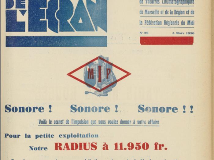 Publicité Radius en couverture de La Revue de l'écran n°26 du 5 mars 1930