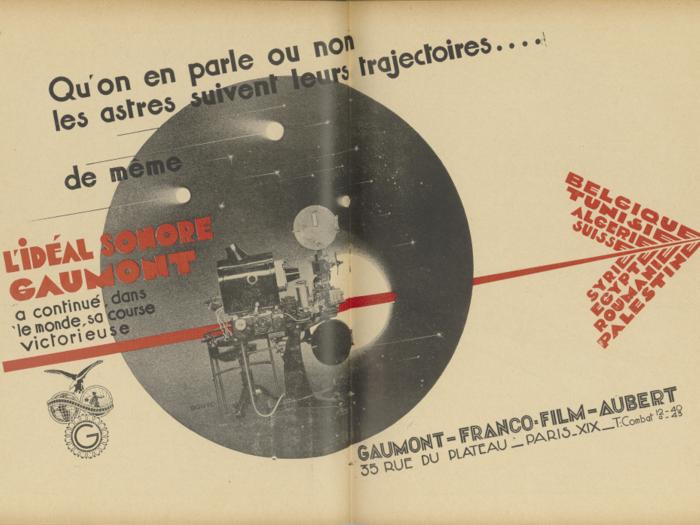 Publicité Gaumont dans La Revue de l'écran n°37 du 5 septembre 1930