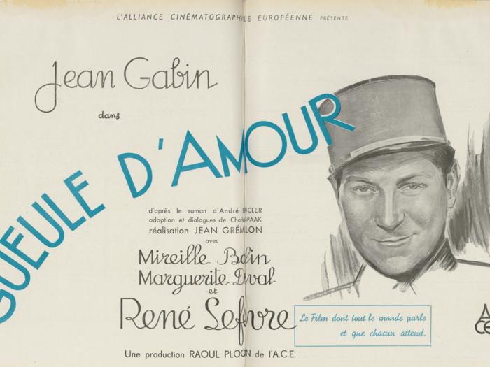 Publicité pour Gueule d'amour dans La Revue de l'écran n°211 du 2 octobre 1937